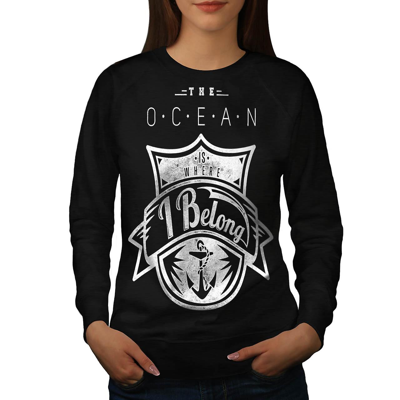 Belong Ocean Sea Boat Love Wave Women Black Sweatshirt | Wellcoda