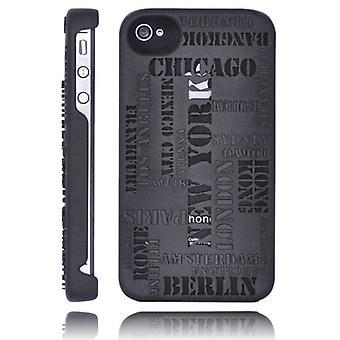 Täcka städer, i relief, i hård plast, för iPhone 4/4s (svart)