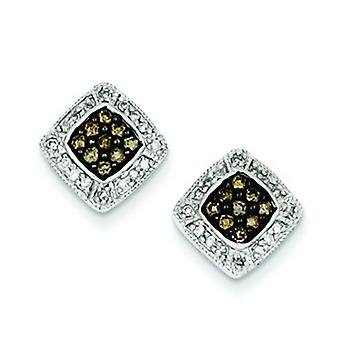 Sterling Silver Champagne Diamond Small Square Post Earrings - .33 dwt