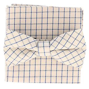 Snobbop set-bound bow tie & handkerchief white checkered light blue cotton