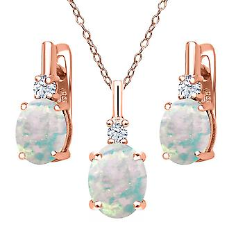 Rose Gold Plated 4.8 Carats Cabochon Opal And Created White Sapphire Set