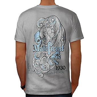 Maleficent Skull USA Dead Head Men Grey T-shirt Back | Wellcoda