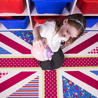 Børn blå Pink Union Jack soveværelse Mat