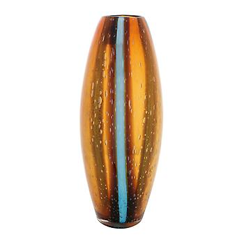 Oval Vase med brun og grå Stripe Glass