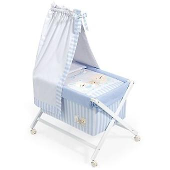 Interbaby Minicuna White With Textile With Love Blue Canopy Model
