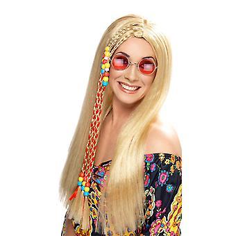 Hippie Strona peruka z włosów flower power 60s smuga