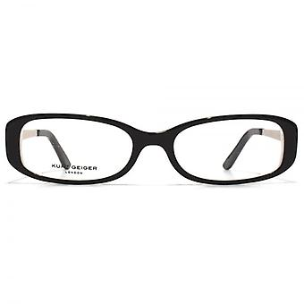 Kurt Geiger Sarah Classic Oval Acetate Glasses In Black With White Interior