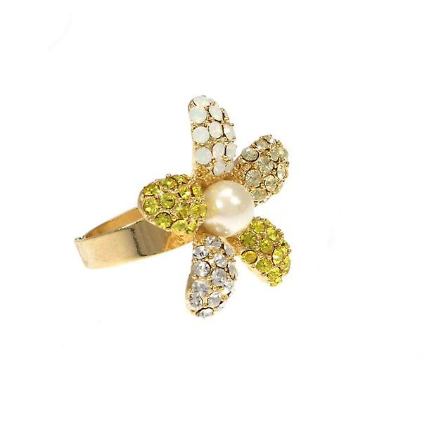 W.A.T Yellow Swarovski Crystal Daisy Ring