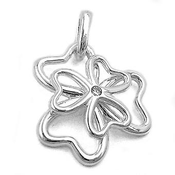 Silver shiny pendant clover cubic zirconia 925 sterling silver