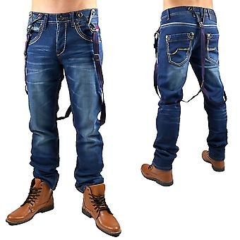 New men's jeans pants designer destroyed clubwear style harness makers
