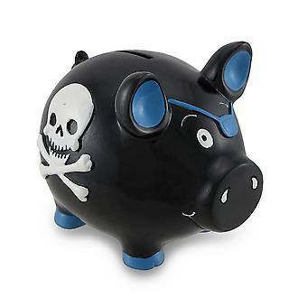 Black and Blue Pirate Pig w/Skull and Crossbones Piggy Bank Coin Bank