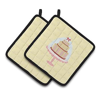 Carolines Treasures  BB7290PTHD 3 Tier Cake on Yellow Pair of Pot Holders