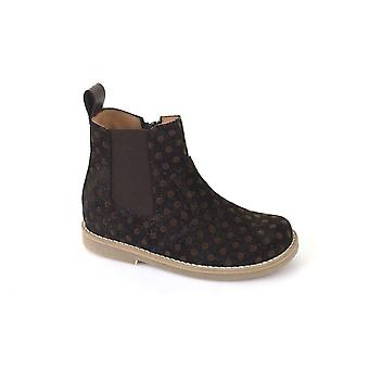 Froddo Chelsea Boots In Brown Glittery Textured Leather With Spots