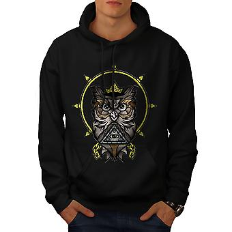 Watching Owl Men BlackHoodie | Wellcoda