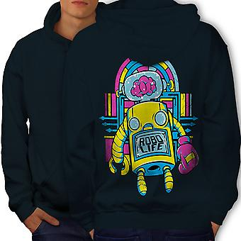 Robo Life Retro Geek Men NavyHoodie Back | Wellcoda