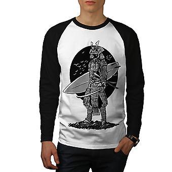 Warrior Surf Cool Fashion Men White (Black Sleeves)Baseball LS T-shirt | Wellcoda