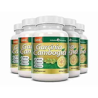 Garcinia Cambogia 1000mg 60% HCA with Potassium and Calcium - 6 Bottles (360 Capsules) - Appetite Control - Evolution Slimming