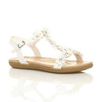 Ajvani womens flat padded comfort t-bar buckle flower diamante sandals