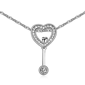 Womens Love Heart Arrow Necklace Pendant Silver