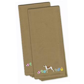 Greyhound Easter Tan Embroidered Kitchen Towel Set of 2