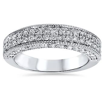 1 1/10ct Pave Diamond Wedding Ring 14K White Gold