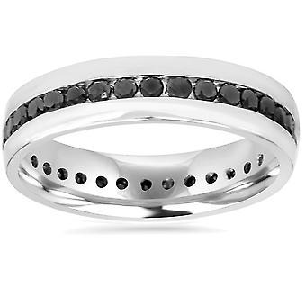 قناة ct 1 1/4 مجموعة من الماس الأسود الخلود خاتم 10 كيلو الذهب الأبيض