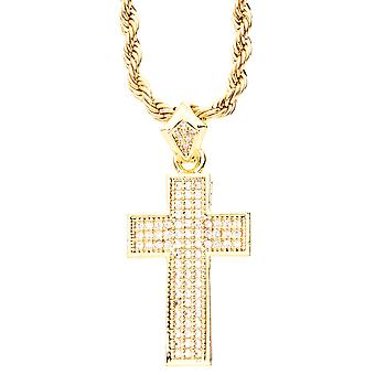 Iced out bling micro pave cross pendant - gold