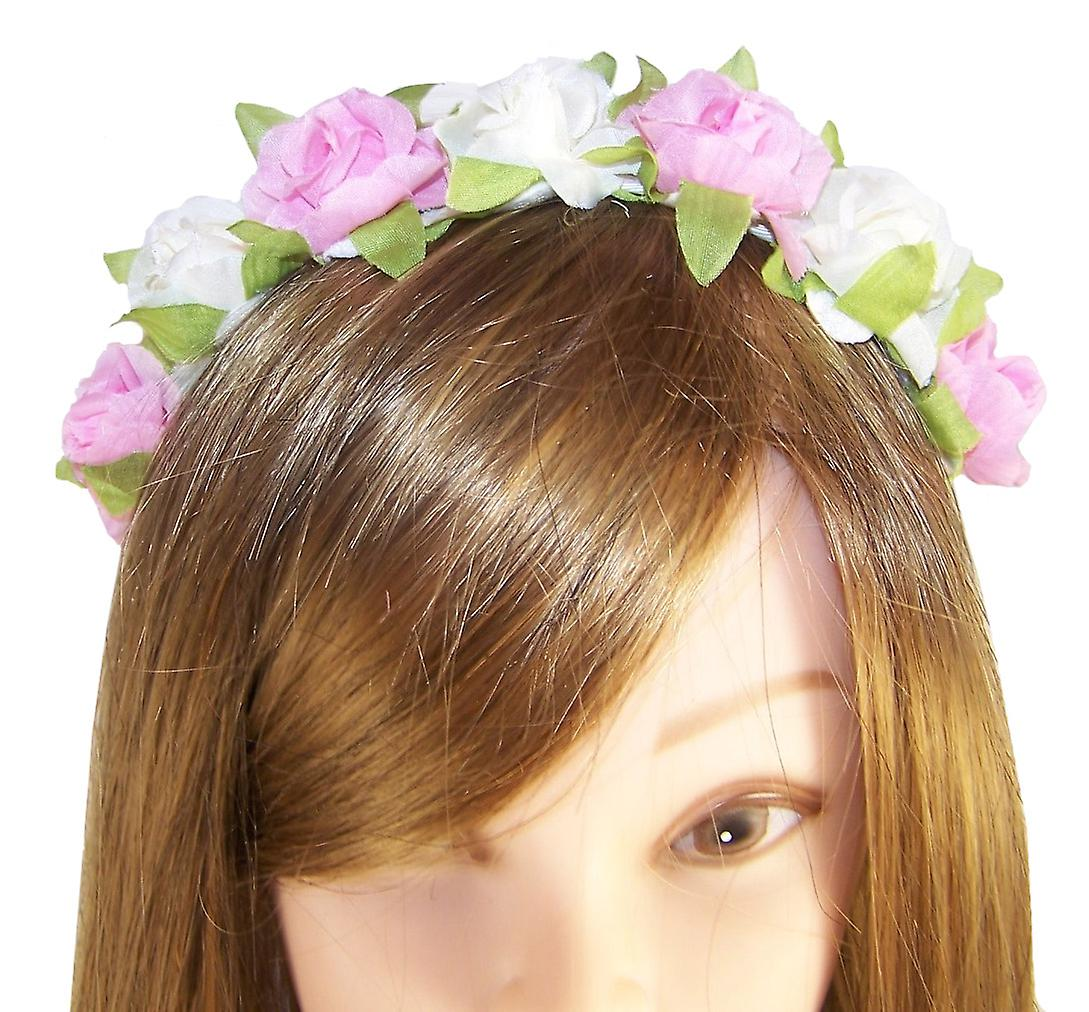 Girls cream and pink flower headband