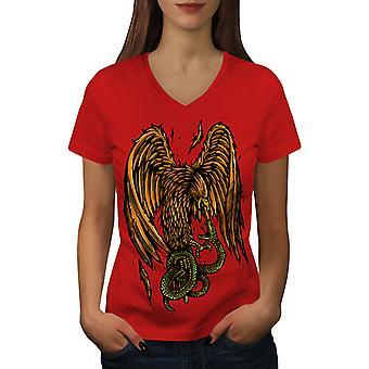 Adler Vs. Schlange Frauen RedV-Neck T-shirt   Wellcoda