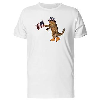 Patriot Cat With Flag Tee Men's -Image by Shutterstock