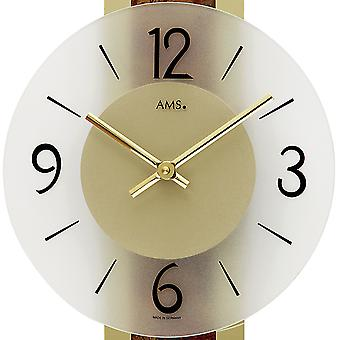 Wall clock quartz clock decorative metal pad on brass mineral glass