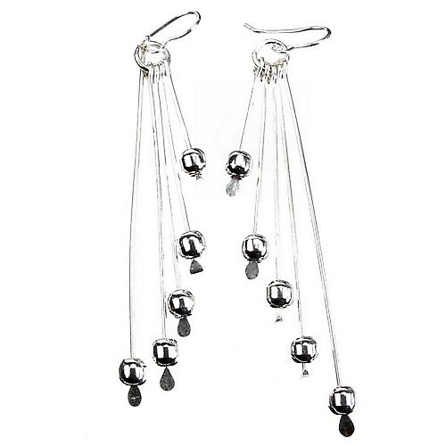 Silver Earrings Taper Rods