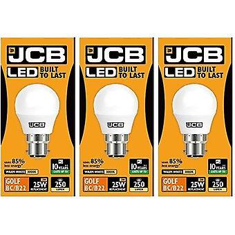 3 X JCB LED 3w = 25w B22 Golf Ball Bulbs Bayonet 250lm Warm White 3000k Non Dimmable [Energy Class A+]