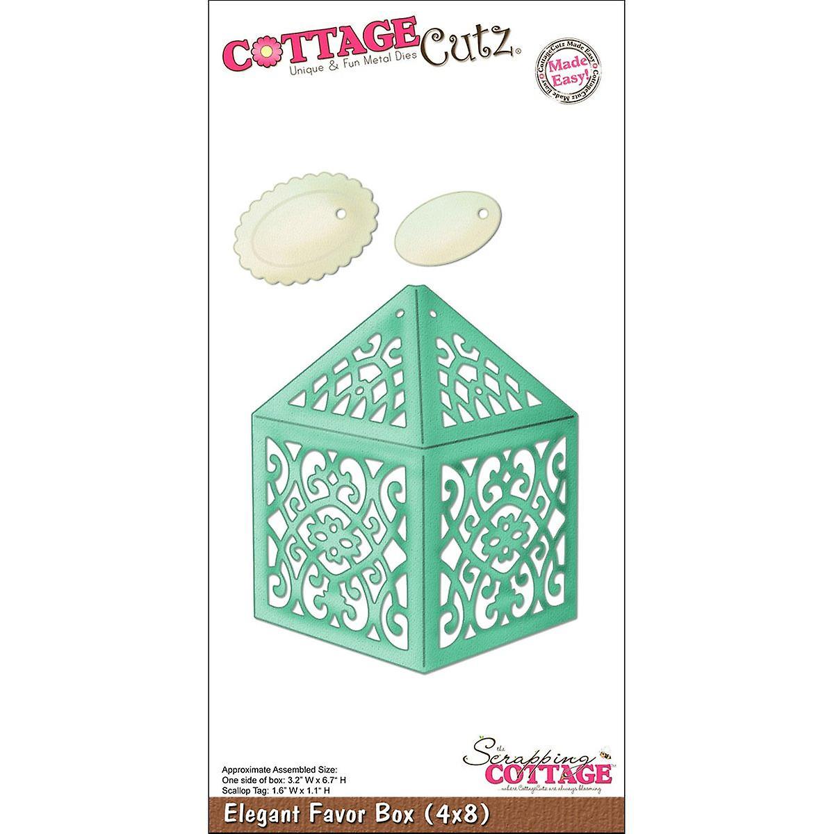 CottageCutz Die-Elegant Favor Box 3.2& 034;X6.7& 034;, Tag 1.6x1.1