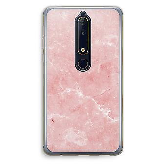 Nokia 6 (2018) Transparent Case (Soft) - Pink Marble