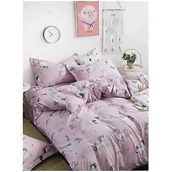 Candy eenhoorns moderne Dekbedovertrek Quilt Cover roze beddengoed Set met kussensloop