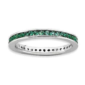 2,5 mm Sterling sølv kanal sæt Rhodium-belagt stabelbare udtryk poleret lavet smaragd Ring - ringstørrelse: 5 til 1