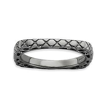 2,25 mm argento modellato rutenio placcatura impilabile espressioni lucido nero-piastra quadrata anello - anello taglia: 5