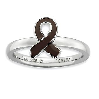 Sterling Silver Polished Rhodium-plated Stackable Expressions Brown Enameled Awareness Ribbon Ring - Ring Size: 5 to 10