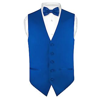 Mens SLIM FIT Dress Vest BowTie Solid Bow Tie Handkerchief Set