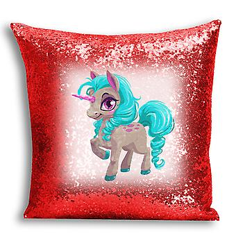 i-Tronixs - Unicorn Printed Design Red Sequin Cushion / Pillow Cover with Inserted Pillow for Home Decor - 17