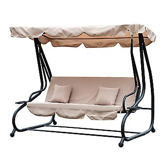 Outsunny Steel Swing Chair Garden Hammock Patio Convertible Canopy Bed 3 Seater Beige