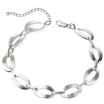 Beginnings Satin Oval Link Bracelet - Silver