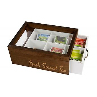 Tea box tray with 6 compartments