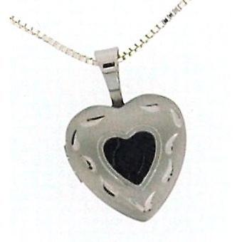 TOC Sterling Silver Patterned 12mm Heart Locket Necklace 18 Inch