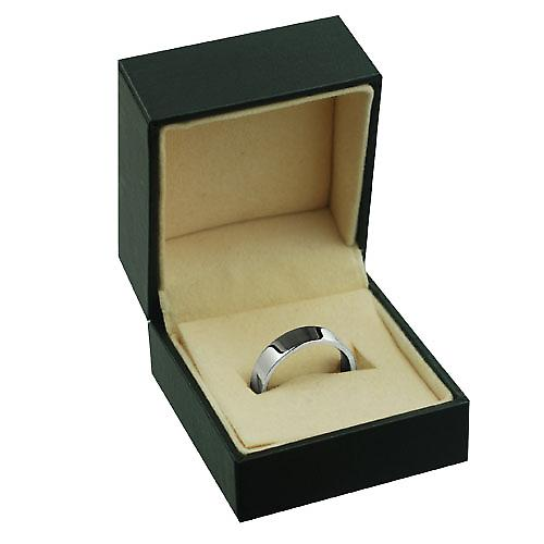 9ct White Gold 5mm plain Flat Court shaped Wedding Ring