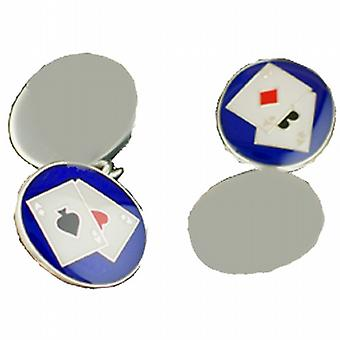 Silver 14x12mm oval Poker chain Cufflinks