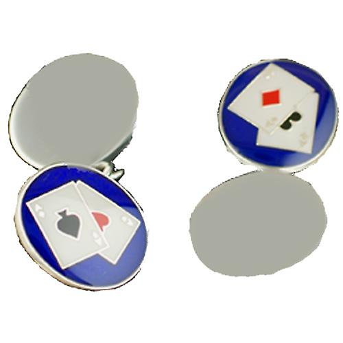 Silver 14x12mm Poker chain cufflinks