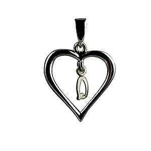 sterling Silver heart with a hanging Initial Q