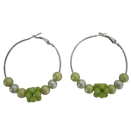 Golden Green Beads Earrings Party Earrings Fashionable Hoop Earrings